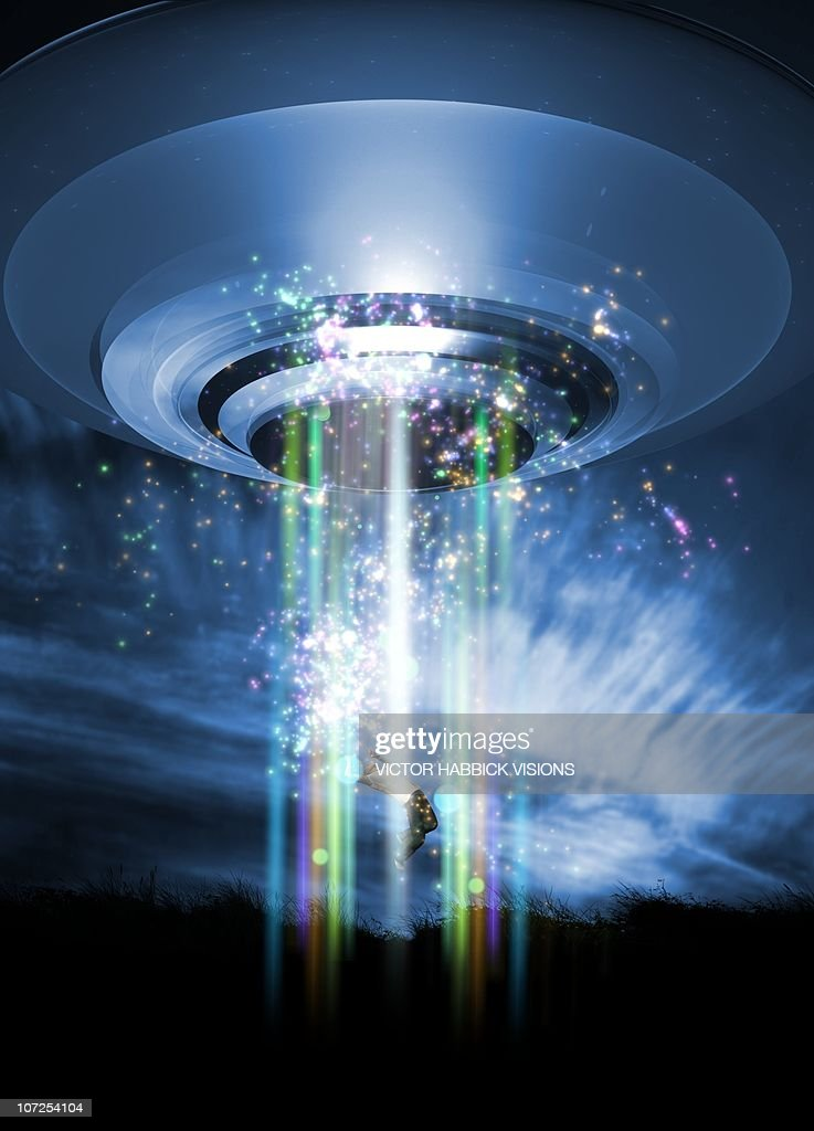 UFO human abduction, conceptual artwork : stock illustration