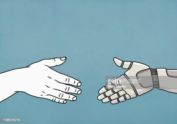 human and robot shaking hands - image technique stock illustrations