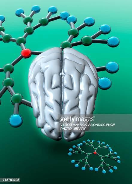 human brain and dendrimers - victor habbick stock illustrations