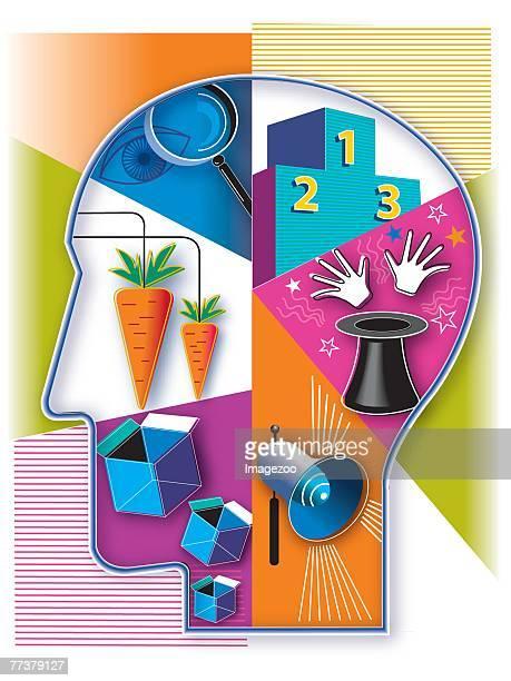 human brain - cerebral hemisphere stock illustrations, clip art, cartoons, & icons