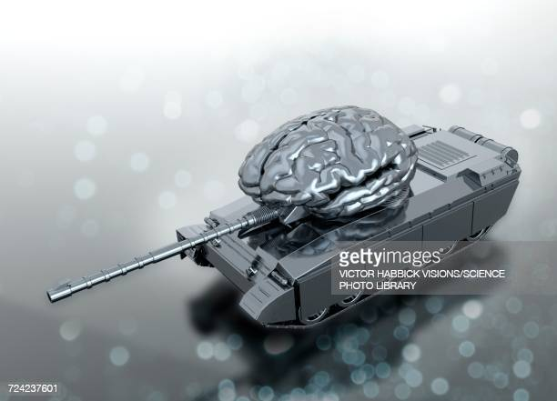 human brain on army tank - war stock illustrations
