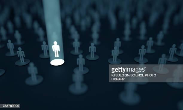 ilustrações, clipart, desenhos animados e ícones de human figure illuminated in white light, illustration - sobressaindo nas multidões
