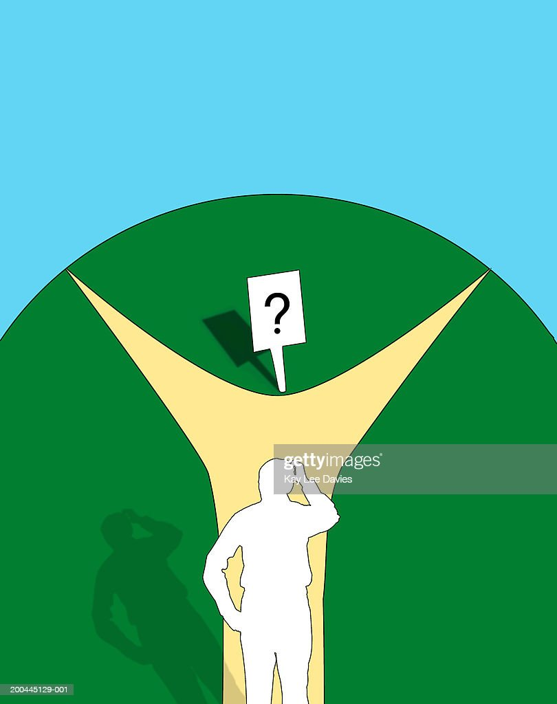 Human figure with hand to head at fork in path : Stock Illustration