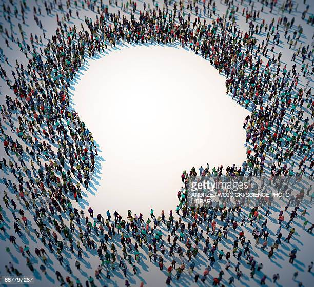 human head and human figures - large group of people stock illustrations