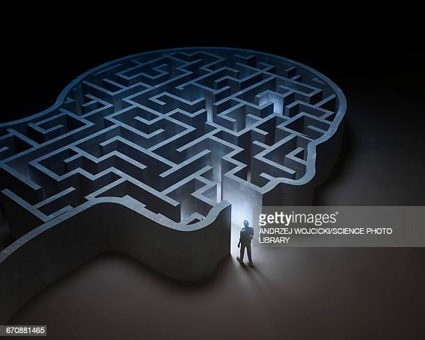 human head in shape of maze, illustration - mental health stock illustrations, clip art, cartoons, & icons