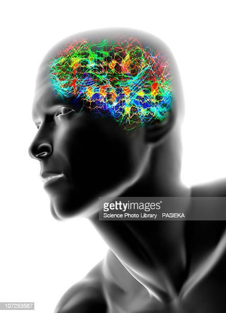 Human head with brainwaves