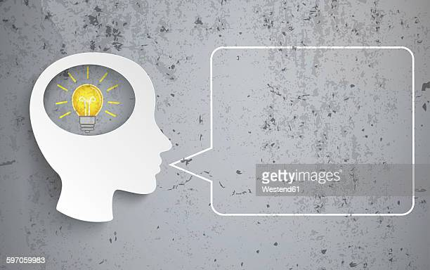 human head with bulb and speech bubble on concrete background, vector graphics - alertness stock illustrations