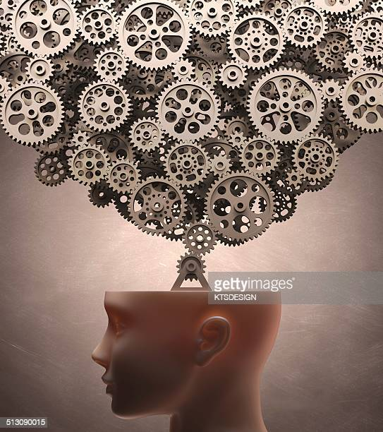 Human head with cogs, artwork