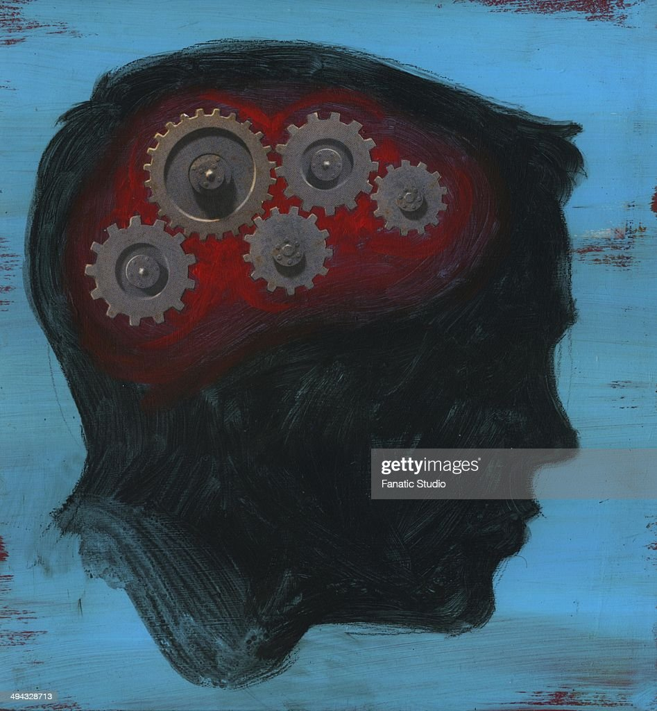 Human head with interlocked gear wheel : stock illustration