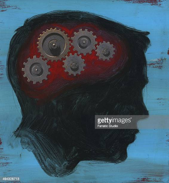 human head with interlocked gear wheel - obsessive stock illustrations, clip art, cartoons, & icons