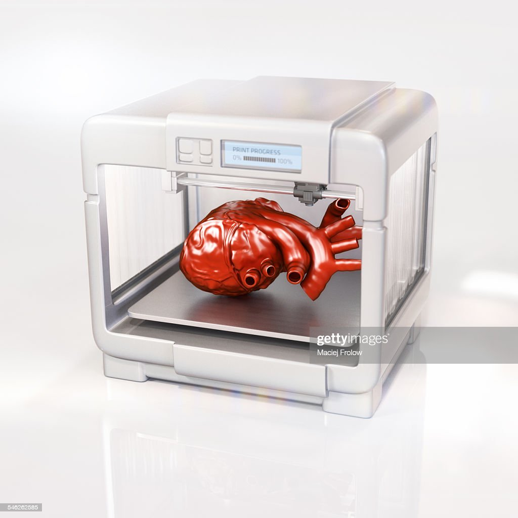 Human heart made with a 3D printer : Stock Illustration