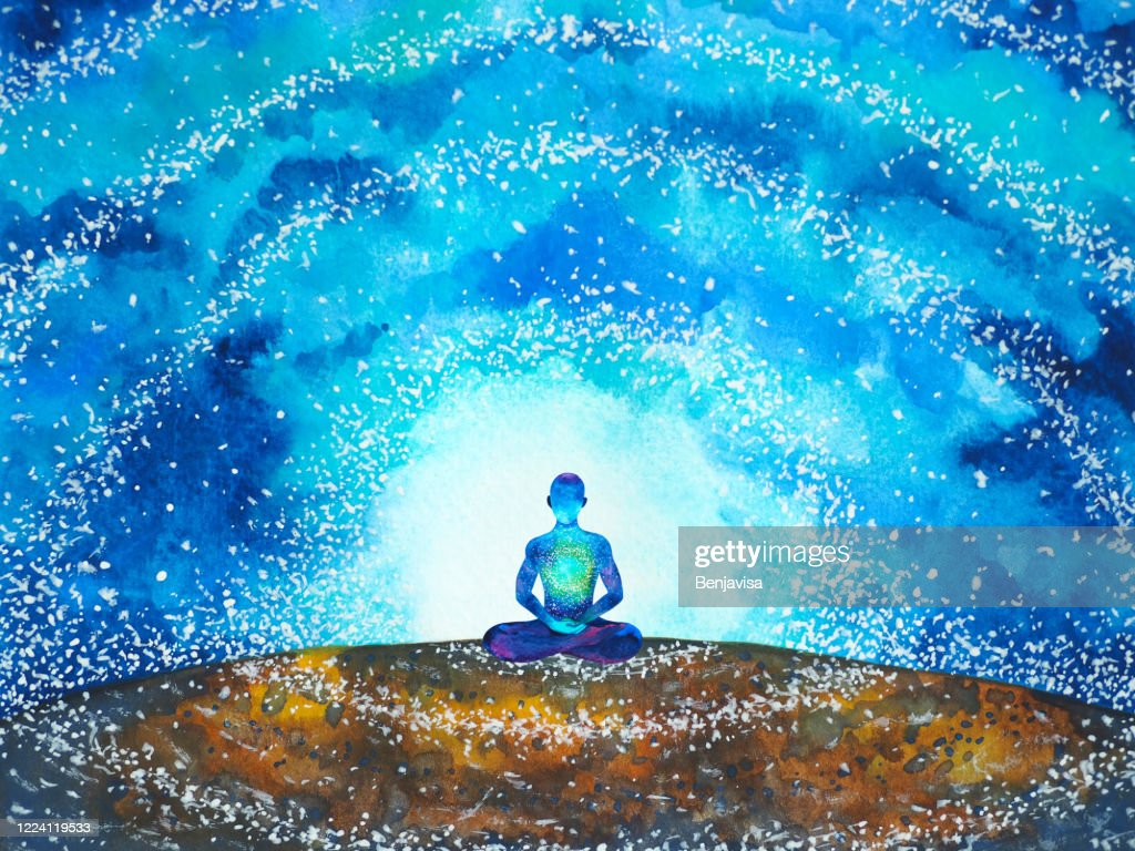 human meditate mind mental health yoga chakra spiritual healing watercolor painting illustration design : stock illustration