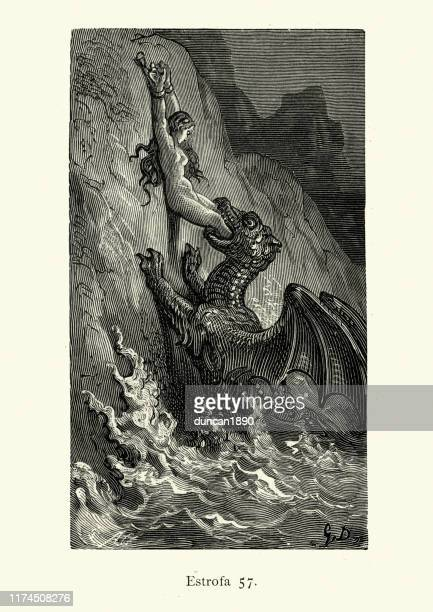 human sacrifice chained to a rock, sea monster, fantasy - woodcut stock illustrations, clip art, cartoons, & icons