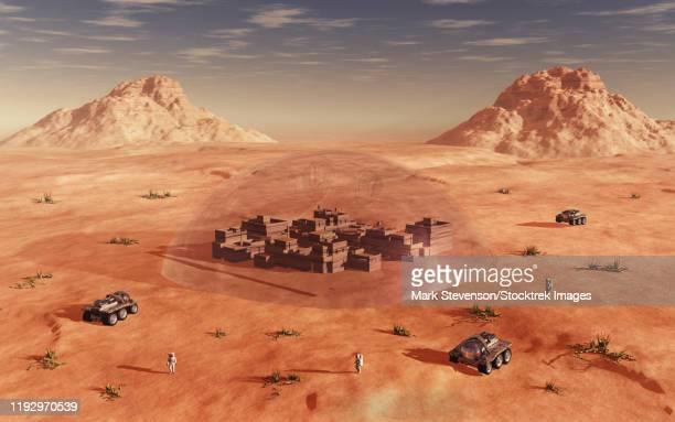 illustrazioni stock, clip art, cartoni animati e icone di tendenza di humanity exploring and terraforming the planet mars. - cupola