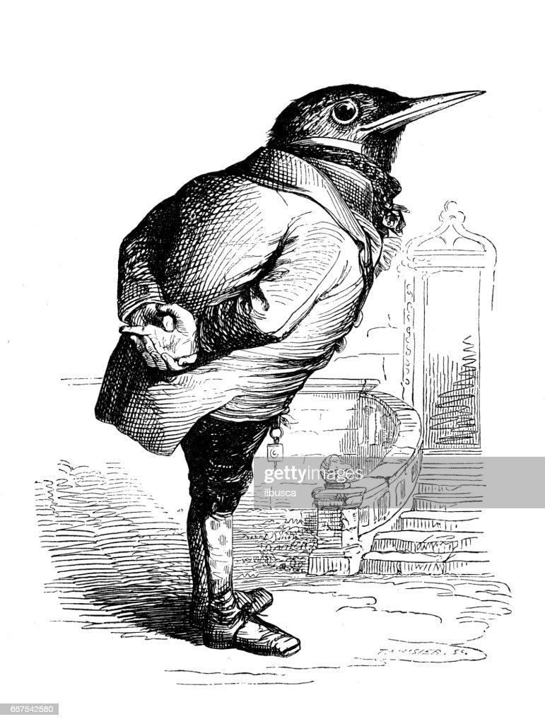 Humanized animals illustrations: Bird : stock illustration