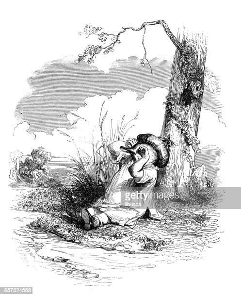 Humanized animals illustrations: Bird waking up or crying