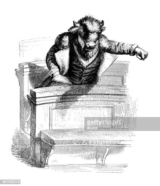 humanized animals illustrations: bison - european bison stock illustrations, clip art, cartoons, & icons
