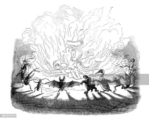 Humanized animals illustrations: Burning papers
