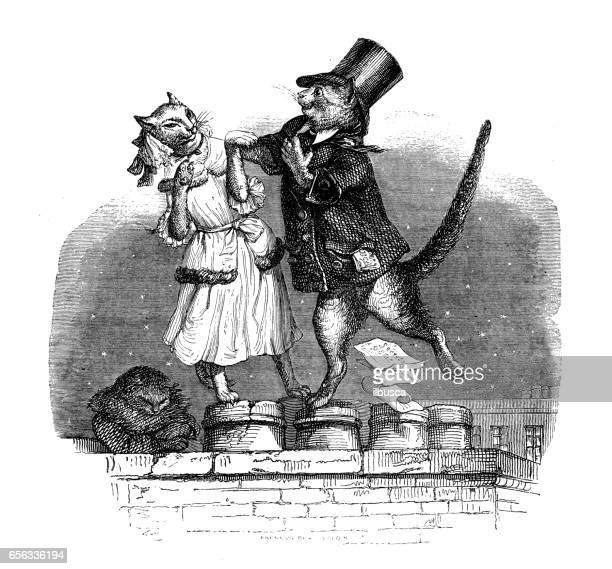 illustrations, cliparts, dessins animés et icônes de humanisé illustrations d'animaux: chats danser sur toit - image du xixème siècle