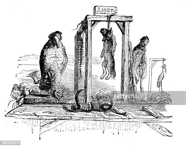 Humanized animals illustrations: Fox death penalty execution