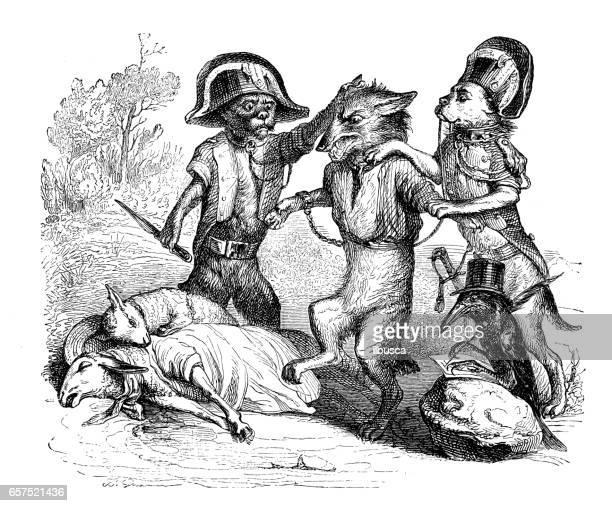 Humanized animals illustrations: Fox murder scene caught