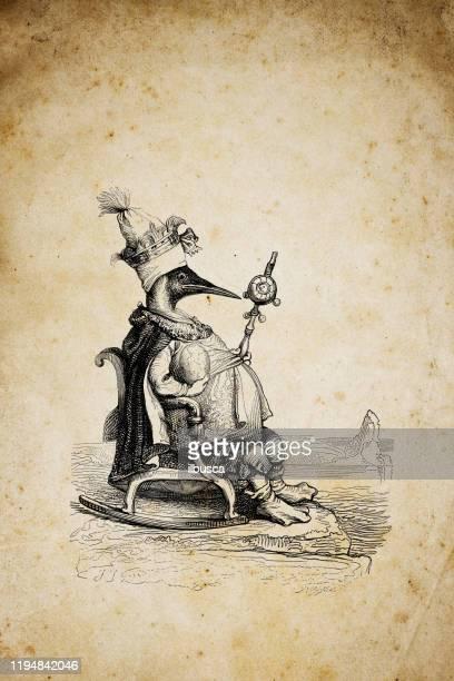 humanized animals illustrations: king penguin - throne stock illustrations