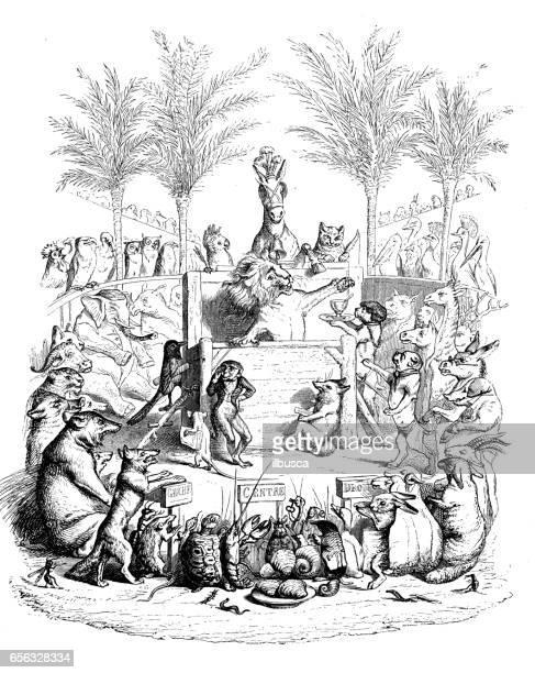 Humanisé illustrations d'animaux: Lion parlant