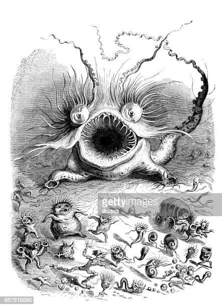 stockillustraties, clipart, cartoons en iconen met gehumaniseerd dieren illustraties: eng monster - monster fictional character