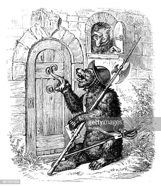 illustrations, cliparts, dessins animés et icônes de humanisé illustrations d'animaux: soldat d'ours et le renard - marteaudeporte