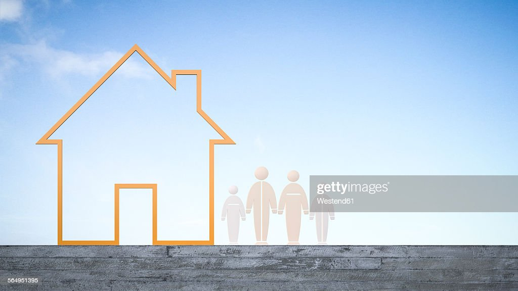 Humanlike Figurines Next To House 3d Rendering stock