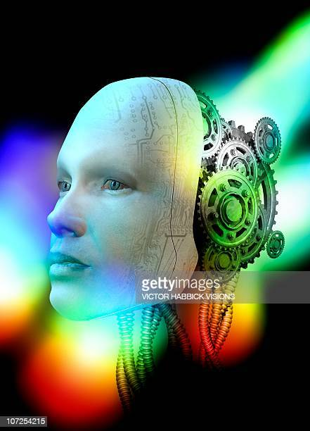humanoid robot, conceptual artwork - victor habbick stock illustrations