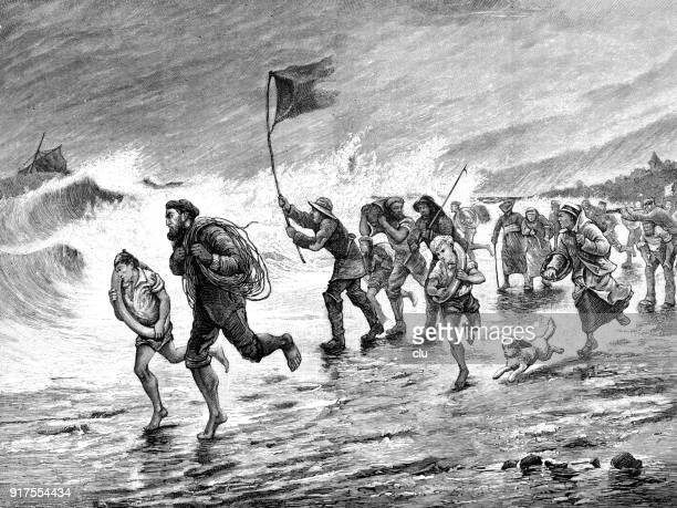 humans flee from stormy weather at the sea, in the background a wreck - 1877 stock illustrations, clip art, cartoons, & icons