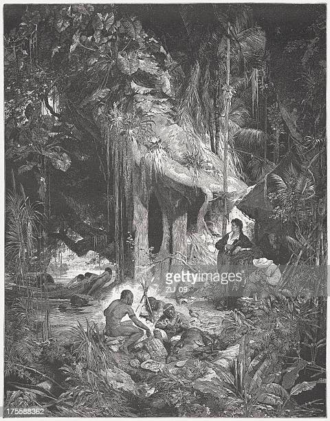 Humboldt at the Orinoco in 1800, wood engraving, published 1882