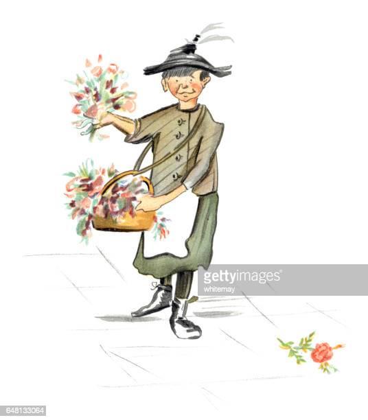 Humorous Victorian flower seller