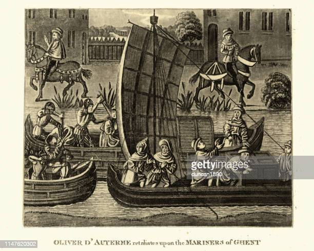 hundred years war, oliver d'auterme retailiates against ghent mariners - hundred years war stock illustrations, clip art, cartoons, & icons