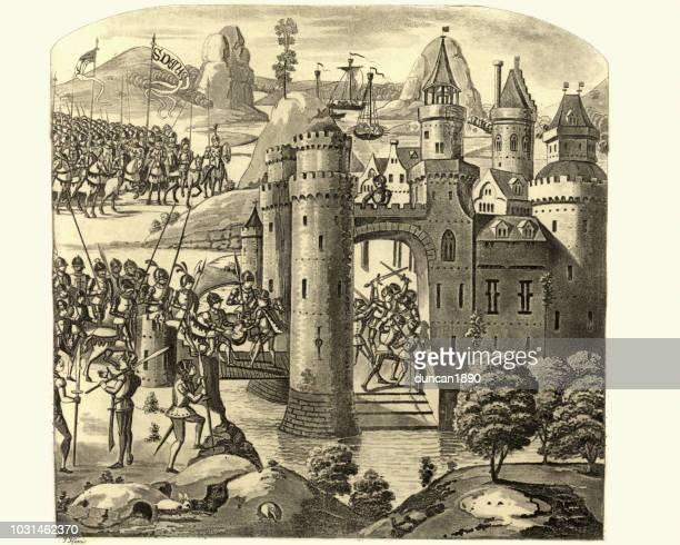 hundert jahre krieg, belagerung von calais 1347 - calais stock-grafiken, -clipart, -cartoons und -symbole