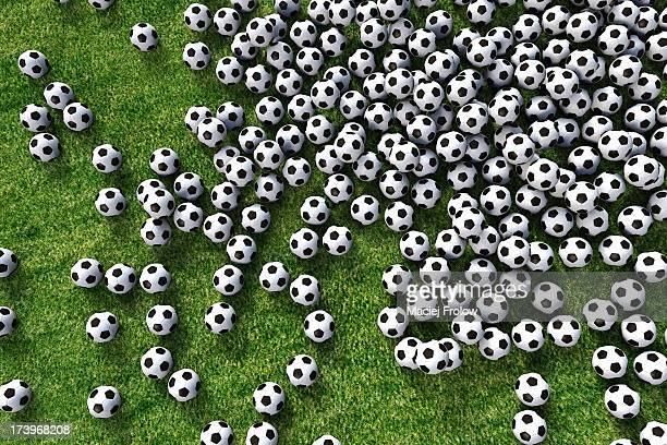 hundreds of soccer balls viewed from above - large group of objects stock illustrations