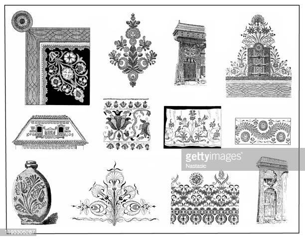 hungarian culture decorations - embellishment stock illustrations