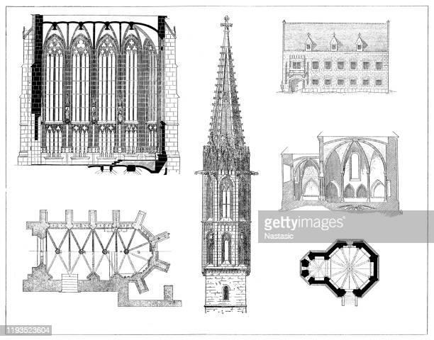 hungarian memorials - kosice stock illustrations