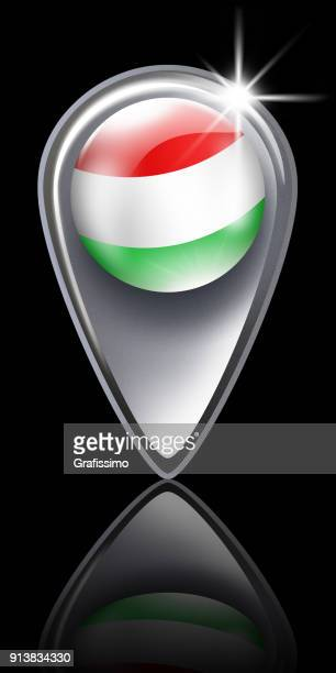 Hungary button map pointer with hungarian flag isolated on black