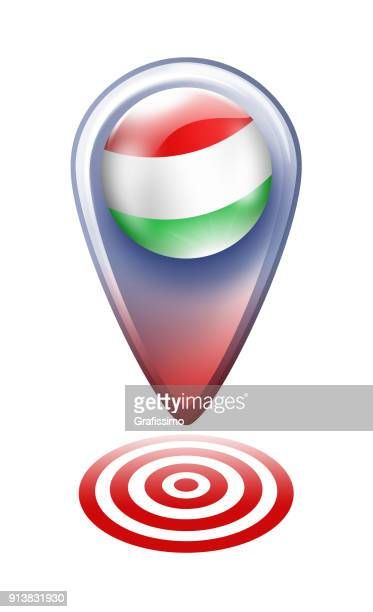 Hungary button map pointer with hungarian flag isolated on white