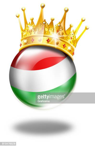Hungary button with hungarian flag and winner crown isolated on white