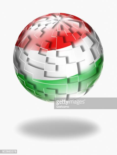 Hungary button with hungarian flag isolated on white