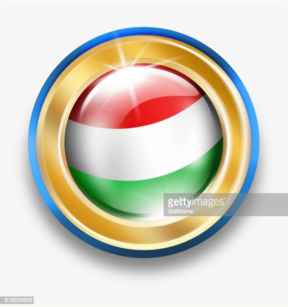 Hungary golden button with hungarian flag isolated on white