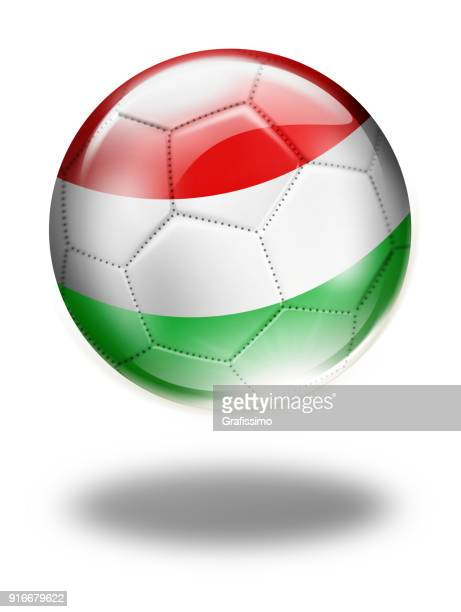 Hungary soccer ball with hungrian flag isolated on white