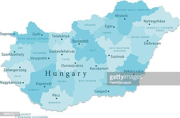 ungarn vektor-karte regionen isoliert - hungary stock-grafiken, -clipart, -cartoons und -symbole