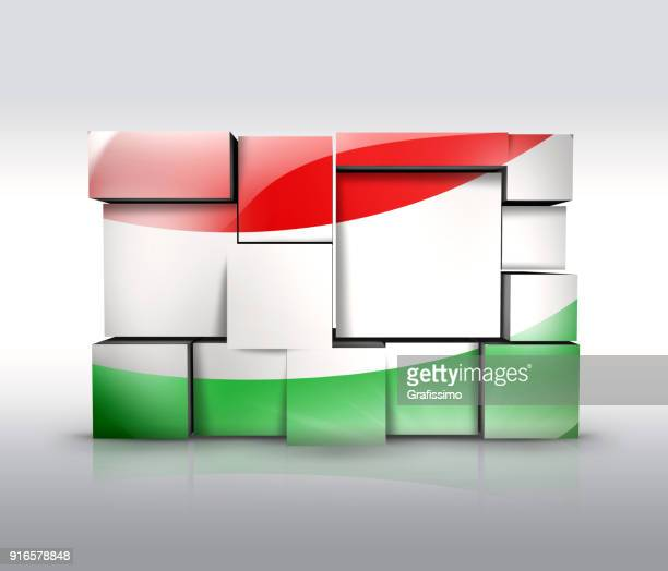 Hungary wall with hungrian flag as puzzle isolated on white