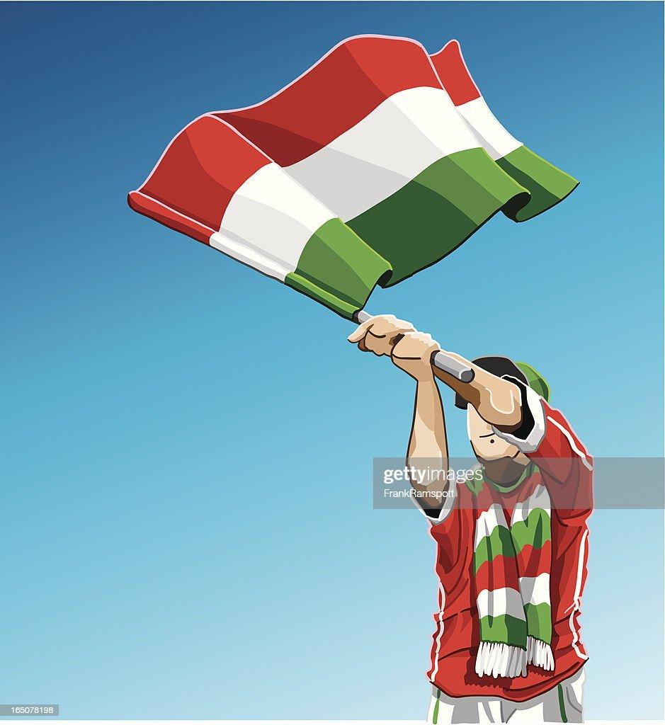 Hungary Waving Flag Soccer Fan : stock illustration