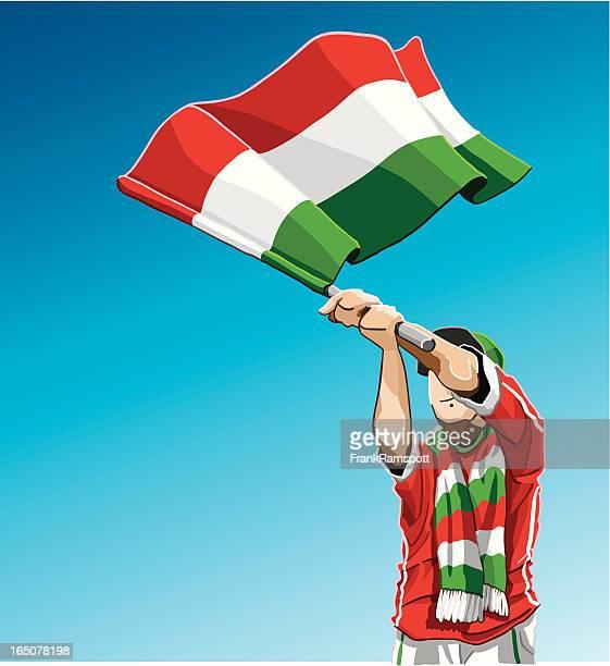 Hungria Acenando a bandeira Fã de Futebol