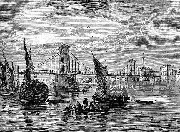 ilustraciones, imágenes clip art, dibujos animados e iconos de stock de puente hungerford suspensión, londres, en 1850 - torre petrolera